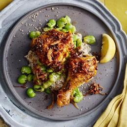 Huhn auf Auberginen-Sesam-Mus mit Dicken Bohnen