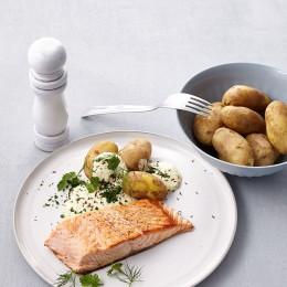 Rezept des Tages: Lachs mit Pellkartoffeln und Quark