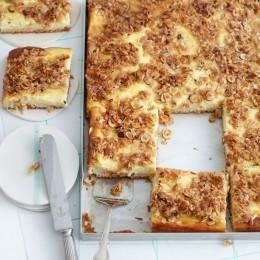 Quark-Blechkuchen mit Nuss-Haferflocken-Kruste