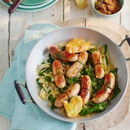Salsiccia mit Mangold und Senfzwiebeln