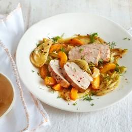 Schweinefilet mit Fenchel-Aprikosen-Gemüse