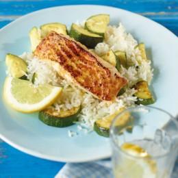 Seelachs mit Zucchini-Reis