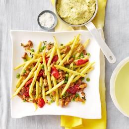 Wachsbohnen-Pfifferling-Gemüse mit Polenta