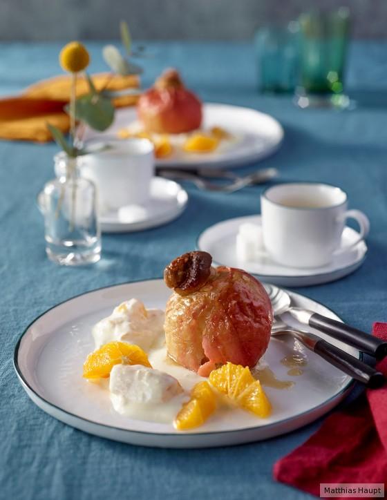 Bratäpfel mit Orangenjoghurt