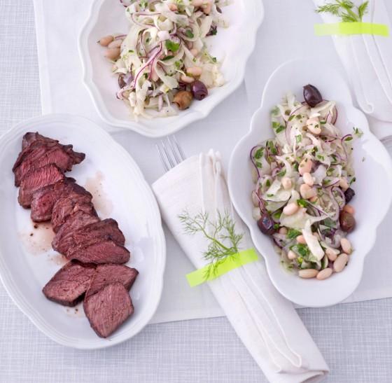 Fenchel-Bohnen-Salat mit Hüftsteak-Tagliata
