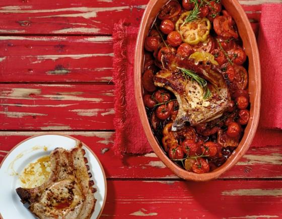 Geschmorte Tomaten mit Koteletts