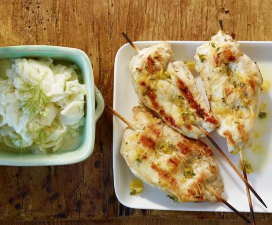 Hähnchen-Saté mit Zitronenmarinade