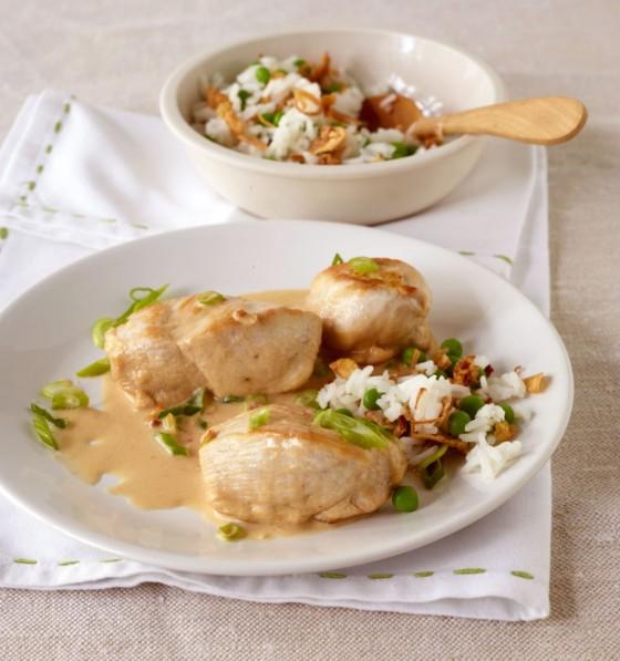 Hähnchenbrust mit Erdnuss-Sauce