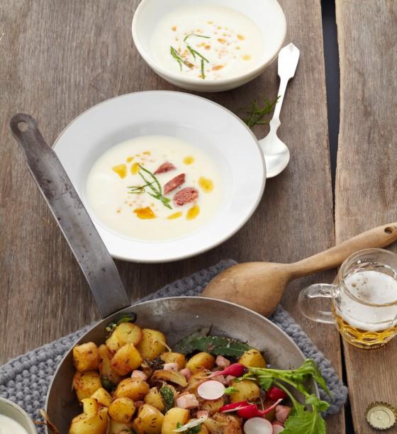 Kartoffelsuppe mit Minze und roten Linsen