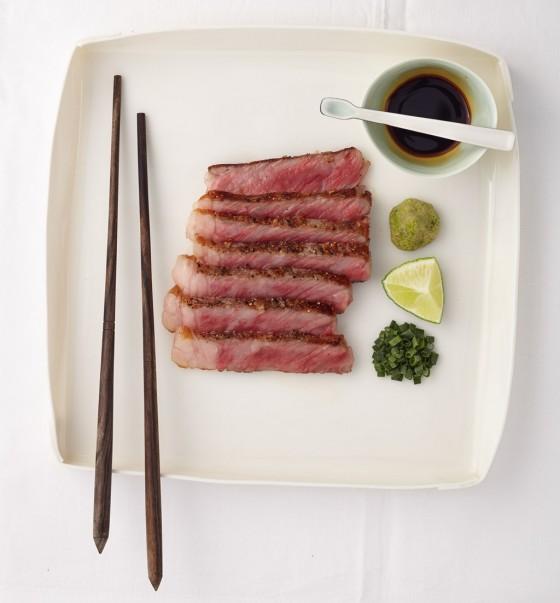 Kobe-Steak mit Soja-Zitrus-Sauce