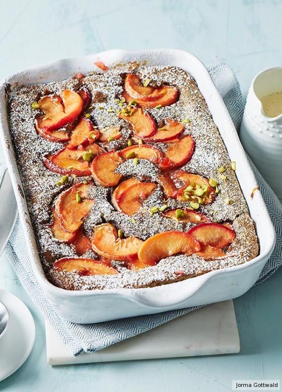 Mohnauflauf mit Pfirsichen