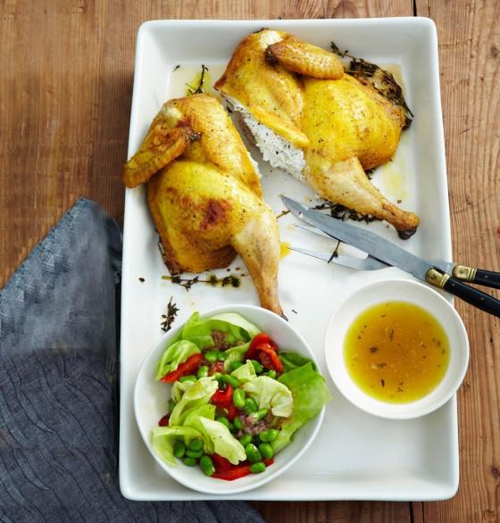 Plattes Huhn mit Ricotta-Füllung
