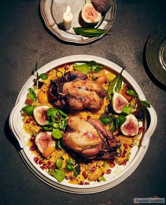 Rebhuhn mit Couscous, Feigen und Brunnenkresse