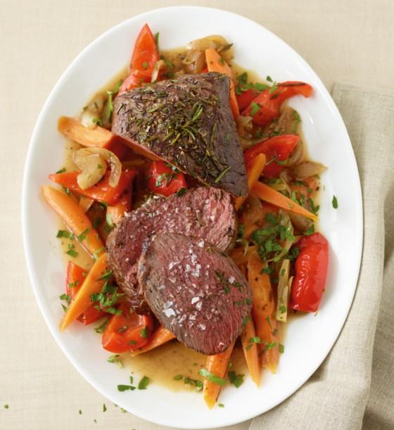 Rinderhüfte mit Gemüse