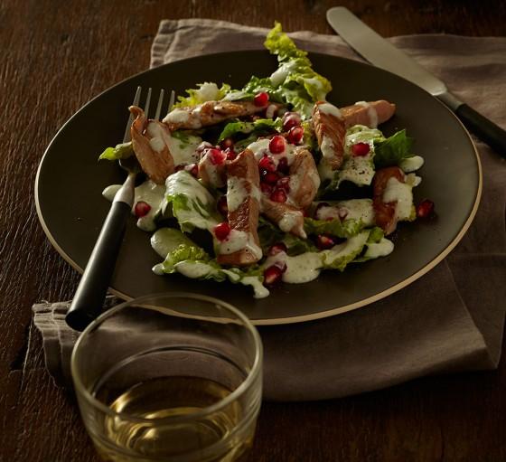Schweinefilet mit Römersalat und Granatapfel