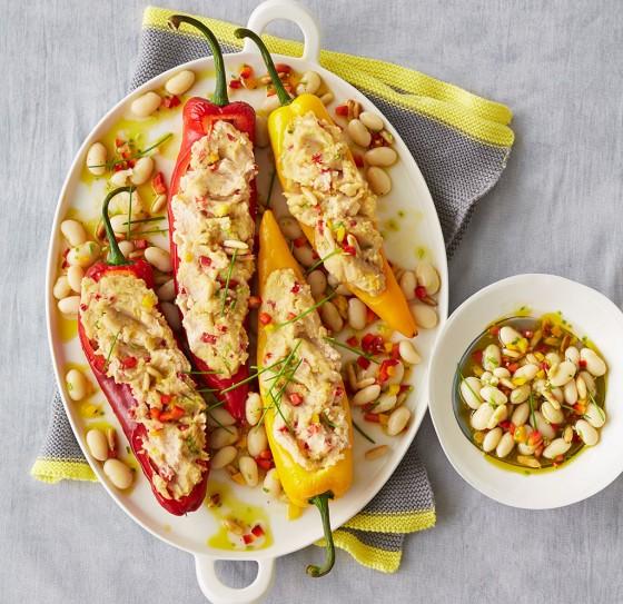 Spitzpaprika mit Palbohnenmus