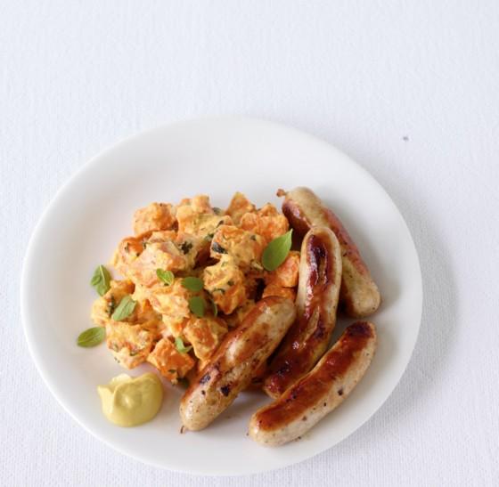 Süßkartoffelragout mit Bratwurst
