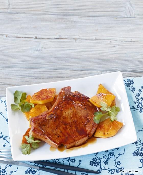 Teriyaki-Kotelett mit Ananas