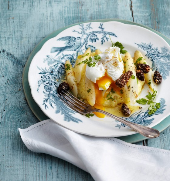 Weißer Spargel mit Morchel-Kerbel-Butter
