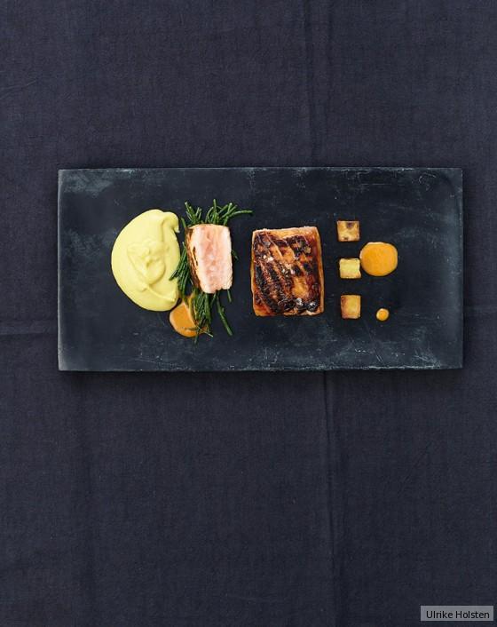 Geräucherter Lachs mit Röstkartoffeln und Maispüree