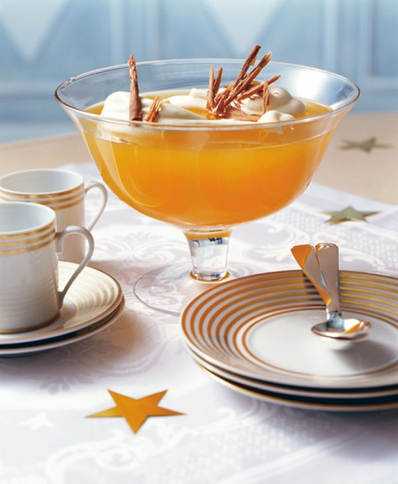 Orangen-Zitronen-Gelee mit Kokoscreme