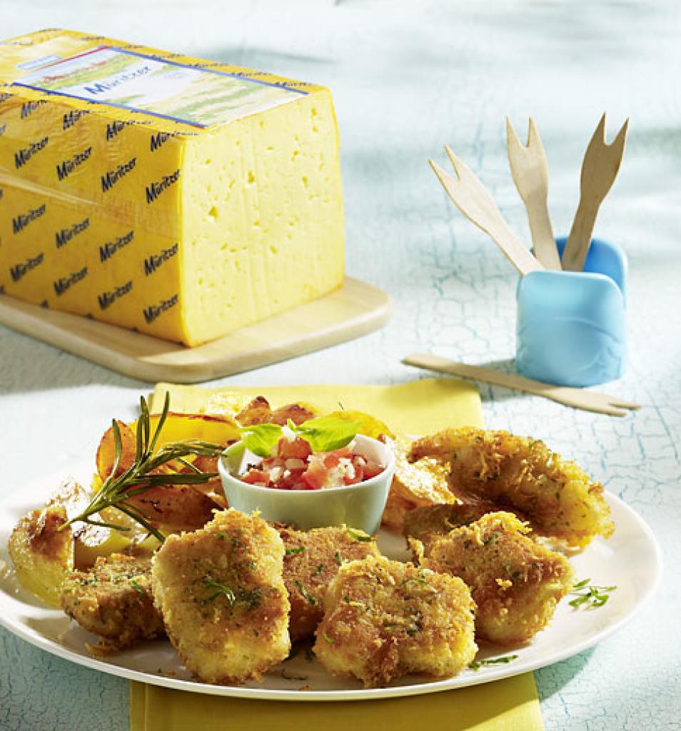 Nuggets Kcal: Chicken Nuggets Mit Käsepanade, Kartoffelspalten Und
