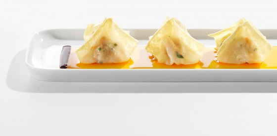 Pilz-Wan-Tans mit Hijiki-Sauce