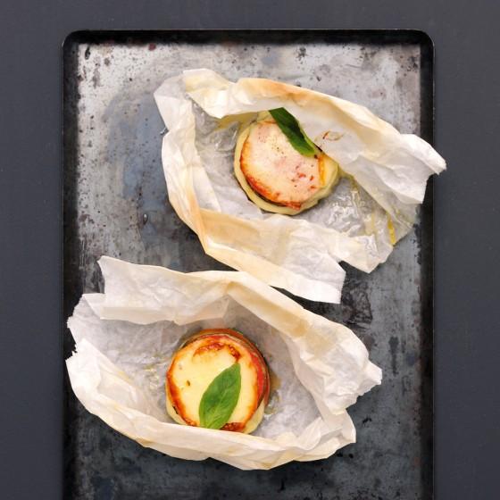 Aubergine mit Tomate & Scamorza