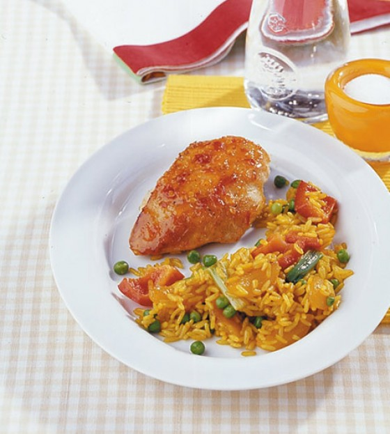 Curryreis mit Hähnchenbrust