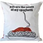 Kissen mit Liebesbotschaft und Spaghetti-Motiv von Dawanda