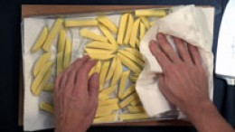 Kartoffelstifte trocknen