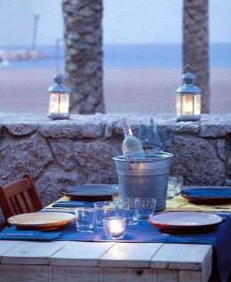 Abendessen im Restaurant Agua am Strand von Barceloneta