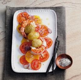 Garnelen-Kartoffel-Spieße mit Rapsöl zubereitet