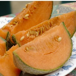 Aufgeschnittene Netzmelone