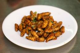 Frittierte Seidenraupen: ein Snack mit vielen Proteinen