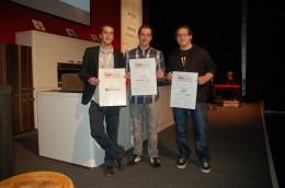 Die Erstplatzierten des Nachwuchspreises: Friedolin Janke, Alexander Neuberth und Vincent Stößel