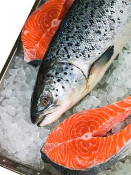 Voller gesunder Nährstoffe: frischer Lachs