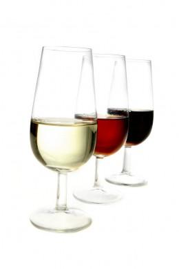 Drei unterschiedliche Sorten Sherry