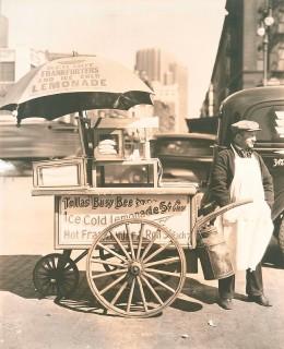 Hot Dog Stand, West St. and North Moore, Manhattan. Berenice Abbott. Gelatin silver print, 1936.