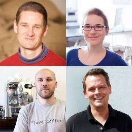 Das Team der Kaffeeschule Hamburg (von links oben nach rechts unten): Andreas Felsen, Steffi Hesse, Tolga Daglum, Georg Schwarz