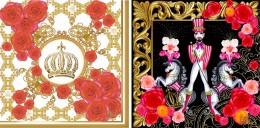 """Royal Rose"" und ""Mr Harald"" aus der Designs for Duni-Kollektion von Harald Glööckler"