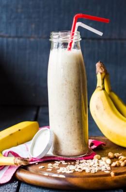 Smoothie, Getränk, Haferflocken, Nüssen, Bananen, trinken, gesundes Frühstück