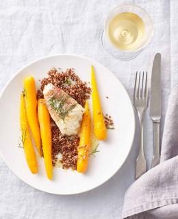 Seeteufel-Saltimbocca mit Orangen-Ingwer-Moehren