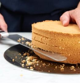 Biskuit mit Messer quer einschneiden für Lübecker Nusstorte