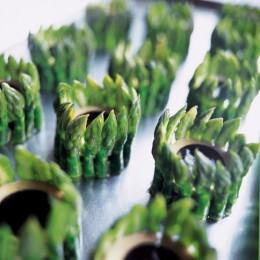 Chartreuse von grünem Spargel und getrüffelter Gänseleber