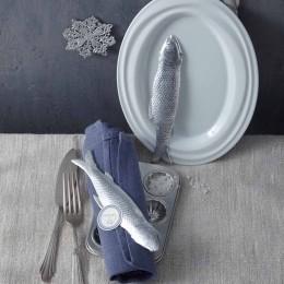 Tischdeko für Weihnachtsessen mit Fisch