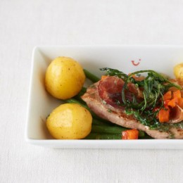 Saltimbocca mit Kartoffeln und grünen Bohnen