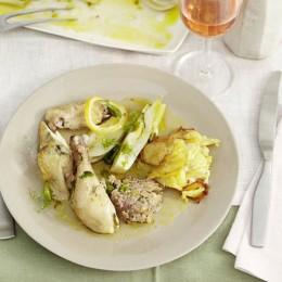 Kartoffelgratin mit gefüllter Fenchel-Poularde