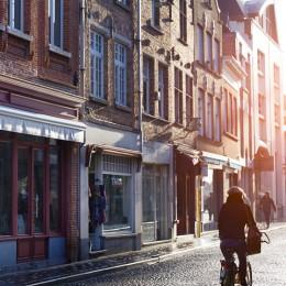 Brügge, Straße in Brügge, Fahrrad, Moodfoto