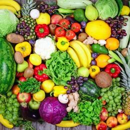Obst und Gemüse, 5 am Tag, gesunde Ernährung, Früchte, Rohkost